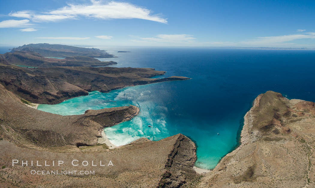 Ensenada Grande, Isla Partida, Sea of Cortez, aerial photo. Baja California, Mexico, natural history stock photograph, photo id 32445