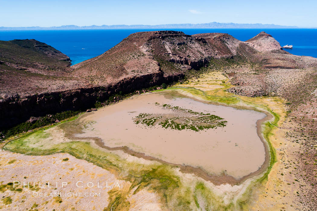 Ephemeral Lake atop Summit Mesa, Isla Partida, aerial view, Sea of Cortez, Baja California. Mexico, natural history stock photograph, photo id 33777