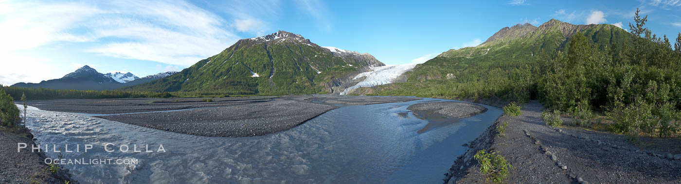 Panorama of Exit Creek, early morning, summer, as it washes over the flood plain below Exit Glacier. Exit Glacier, Kenai Fjords National Park, Alaska, USA, natural history stock photograph, photo id 19109