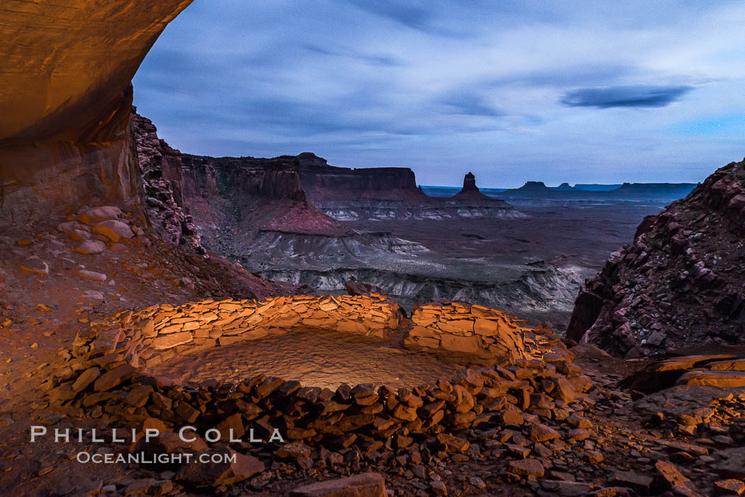 False Kiva at Sunset, Canyonlands National Park, Utah. USA, natural history stock photograph, photo id 29252
