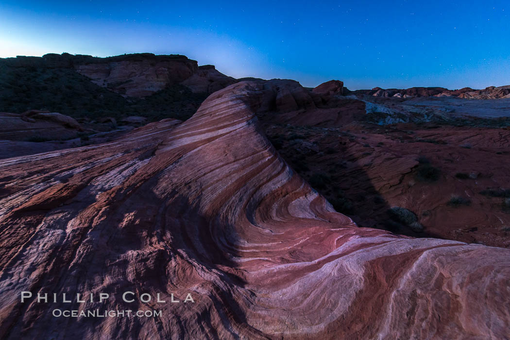 The Fire Wave at night, lit by the light of the moon. Valley of Fire State Park, Nevada, USA, natural history stock photograph, photo id 28432