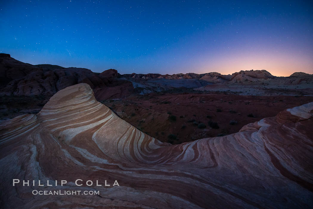 The Fire Wave at night, lit by the light of the moon. Valley of Fire State Park, Nevada, USA, natural history stock photograph, photo id 28431