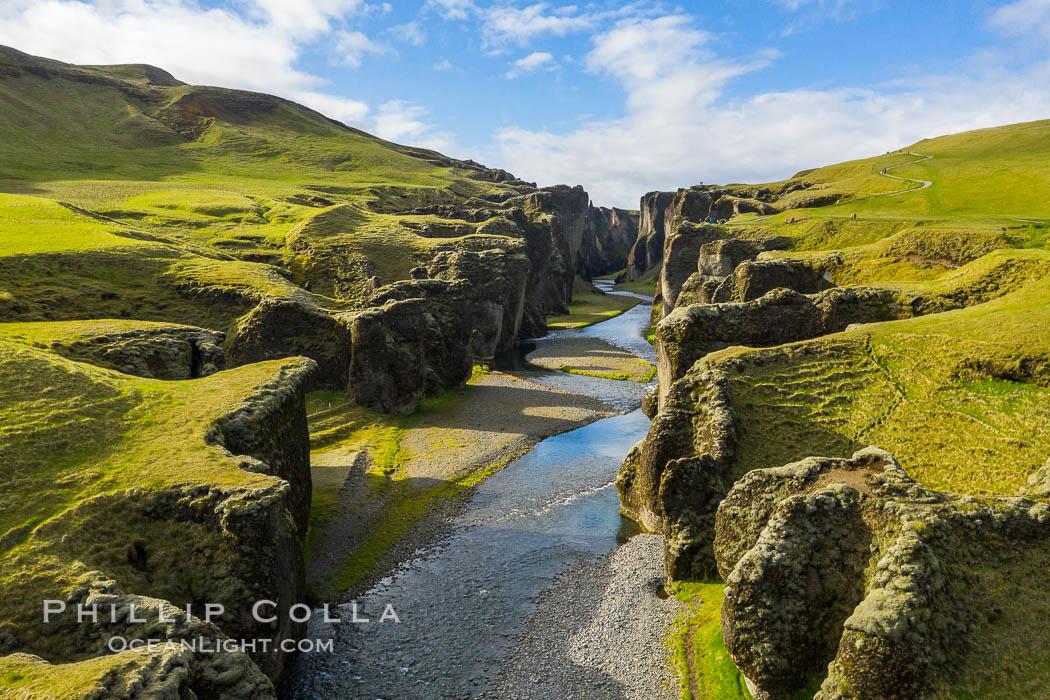 Fjaðrárgljúfur canyon in Iceland, a Game of Thrones place