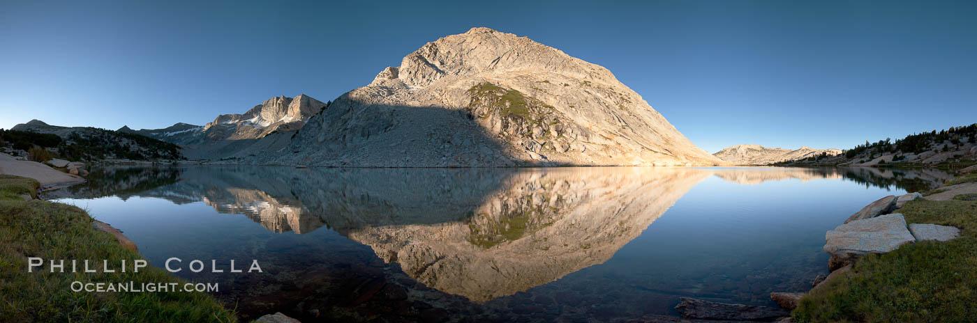 Fletcher Peak (11410') reflected in Townsley Lake, at sunrise, panoramic view. Yosemite National Park, California, USA, natural history stock photograph, photo id 25752