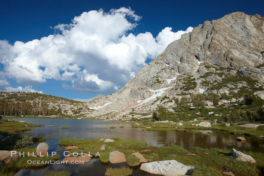 Fletcher Peak (11407') rises above Fletcher Lake (10174'), near Vogelsang High Sierra Camp in Yosemite's high country. Yosemite National Park, California, USA, natural history stock photograph, photo id 23208