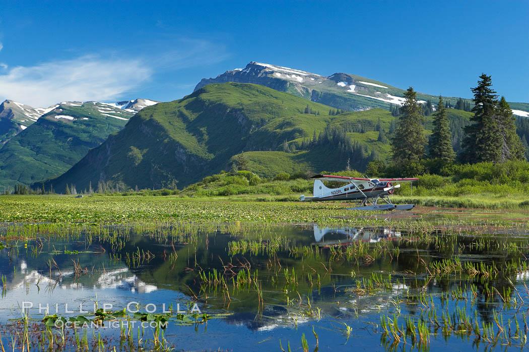 Float plane, water lilies and pond lie beneath the Chigmit Range near Silver Salmon Creek. Lake Clark National Park, Alaska, USA, natural history stock photograph, photo id 19092