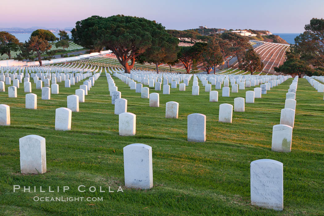 Image 26585, Fort Rosecrans National Cemetery. San Diego, California, USA, Phillip Colla, all rights reserved worldwide. Keywords: air force, armed forces, armed services, army, burial, cemetery, fort rosecrans, fort rosecrans national cemetery, grave, grave, marines, memorial, military, navy, outdoors, outside, point loma, point loma, san diego, scene, scenery, scenic, tombstone.