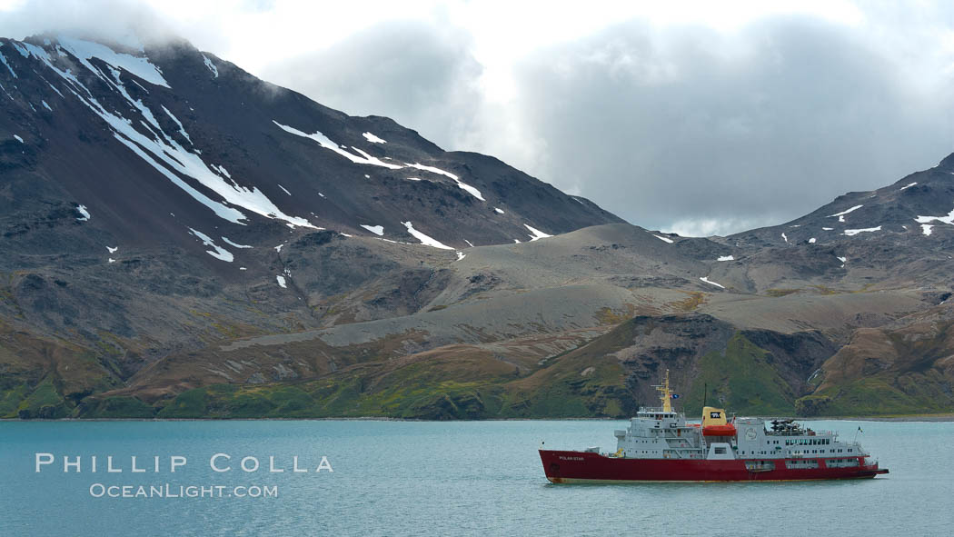Fortuna Bay, with icebreaker M/V Polar Star at anchor. Fortuna Bay, South Georgia Island, natural history stock photograph, photo id 24596