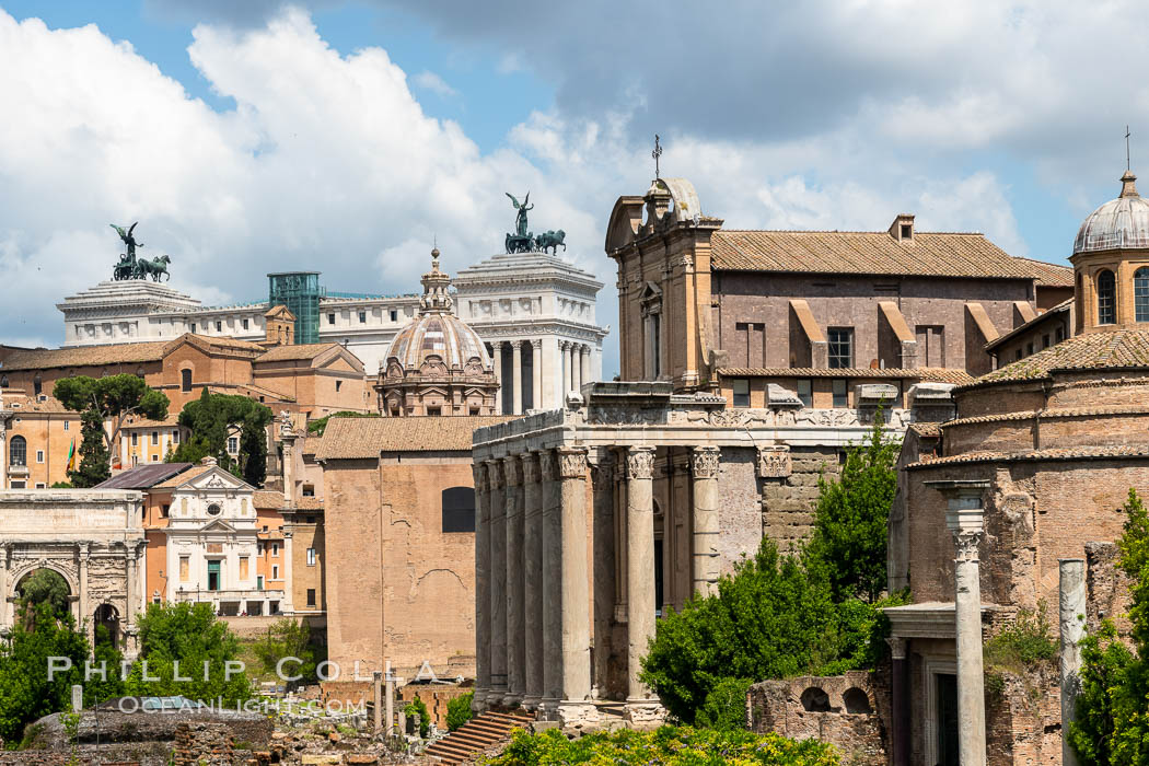 Forum viewed down the Via Sacra, Rome. Forum, Rome, Italy, natural history stock photograph, photo id 35550