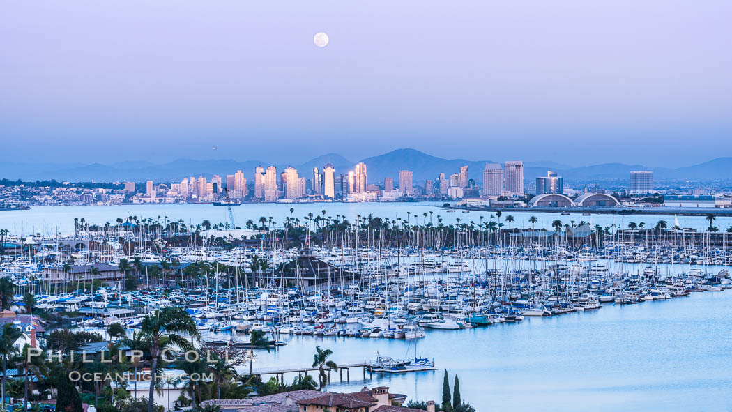 Full Moon over San Diego City Skyline, viewed from Point Loma. San Diego, California, USA, natural history stock photograph, photo id 29118