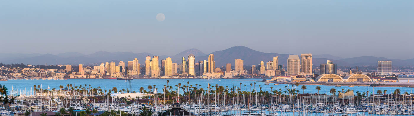 Full Moon over San Diego City Skyline, viewed from Point Loma. San Diego, California, USA, natural history stock photograph, photo id 29116