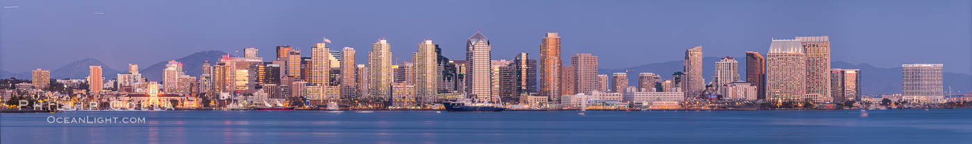 San Diego City Skyline viewed from Harbor Island. San Diego, California, USA, natural history stock photograph, photo id 29119