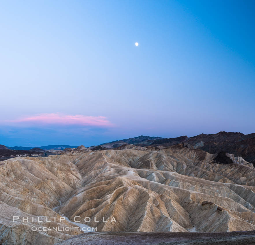 Full moon over Zabriskie Point landscape. Death Valley National Park, California, USA, natural history stock photograph, photo id 28676
