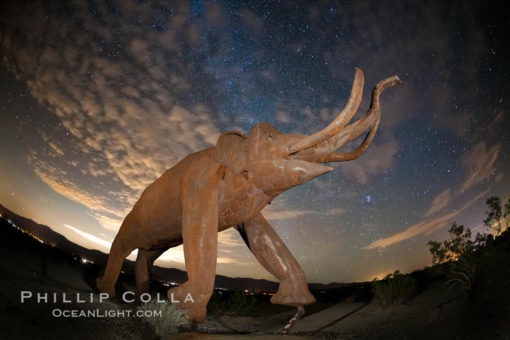 Mammoth art sculpture, by Ricardo Breceda, at night under the stars in Galleta Meadows. Borrego Springs, California, USA, natural history stock photograph, photo id 28812