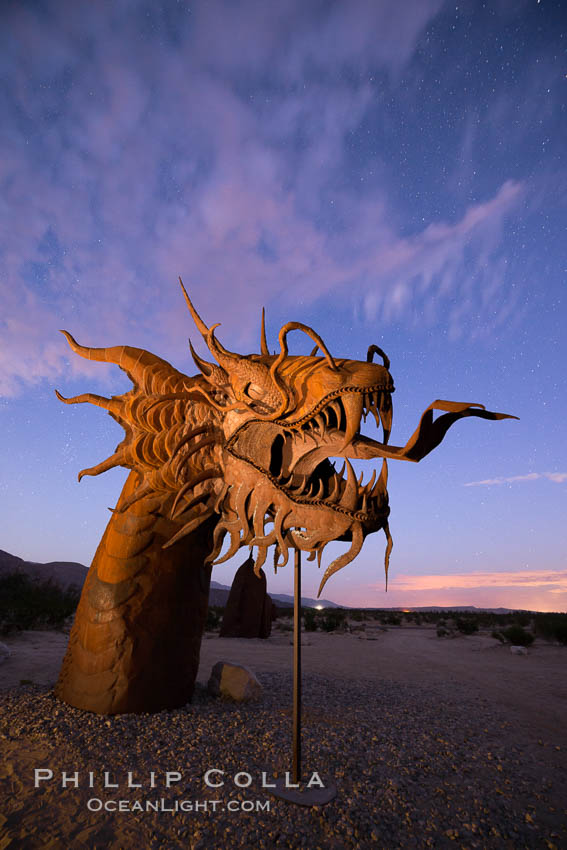 Image 28815, 350-foot long sea serpent, a work of art in Borrego Springs by Ricardo Breceda, sunset, Galleta Meadows. Borrego Springs, California, USA, Phillip Colla, all rights reserved worldwide. Keywords: art, astrophotography, borrego springs, dragon, evening, galleta meadows, landscape astrophotography, night, ricardo breceda, sculpture, sea serpent, serpent, stars.