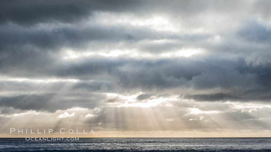 God Beams at Sunset, Guadalupe Island. Guadalupe Island (Isla Guadalupe), Baja California, Mexico, natural history stock photograph, photo id 28772