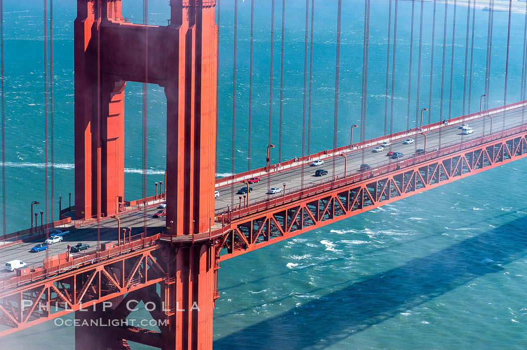 Commuter traffic crosses the Golden Gate Bridge, viewed from the Marin Headlands. San Francisco. California, USA, natural history stock photograph, photo id 09068