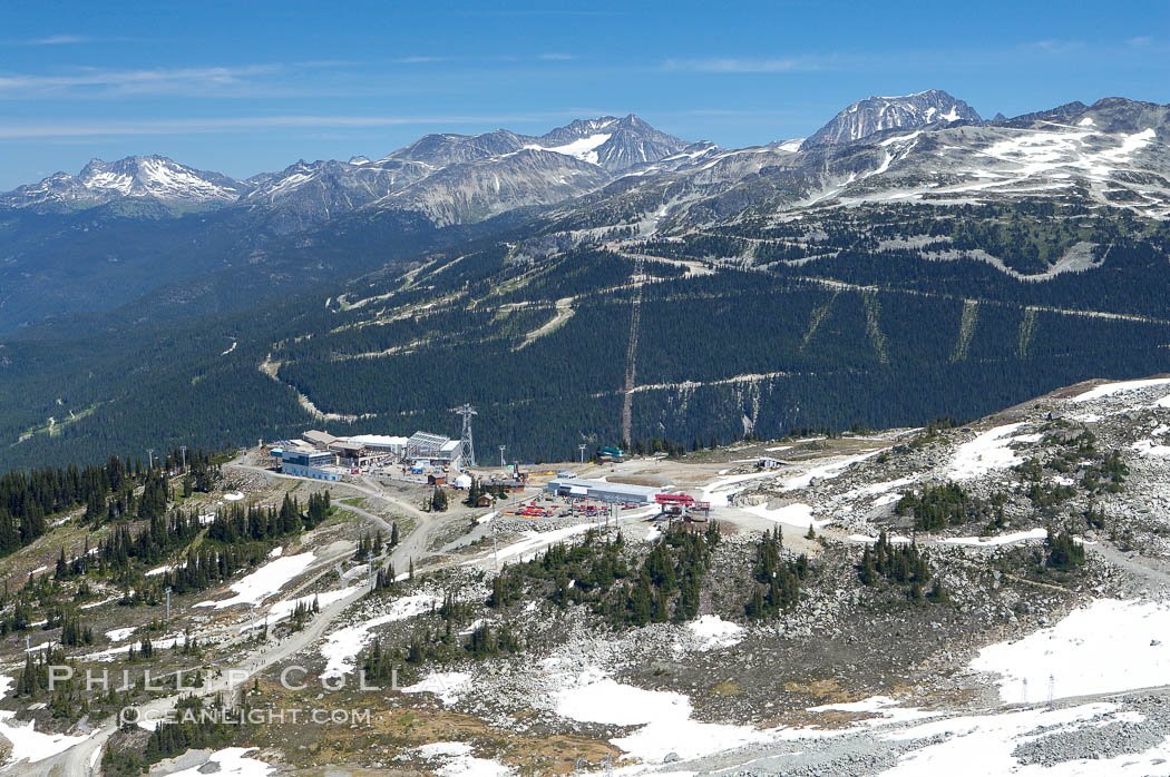 Gondola station viewed from the summit of Whistler Mountain, with Blackcomb Mountain in the distance on the right. British Columbia, Canada, natural history stock photograph, photo id 21020