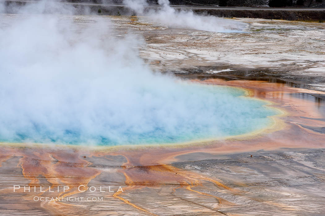 Grand Prismatic Spring steams in cold winter air. Midway Geyser Basin, Yellowstone National Park, Wyoming, USA, natural history stock photograph, photo id 19594