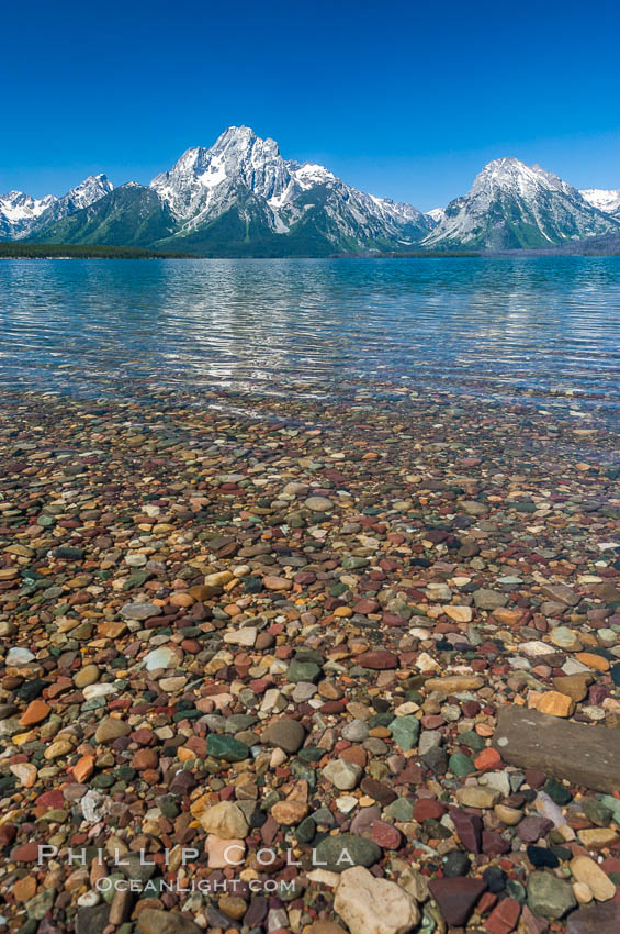 Rocky shallows in Jackson Lake with Mount Moran in the background. Grand Teton National Park, Wyoming, USA, natural history stock photograph, photo id 07410