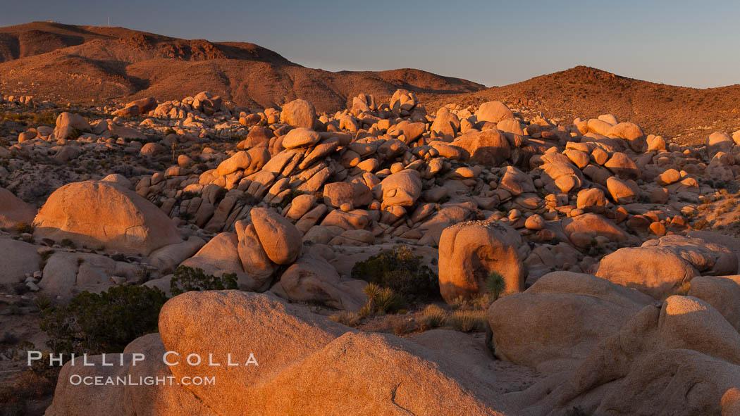 Ancient granite boulders at Joshua Tree National park, at sunset. Joshua Tree National Park, California, USA, natural history stock photograph, photo id 26797