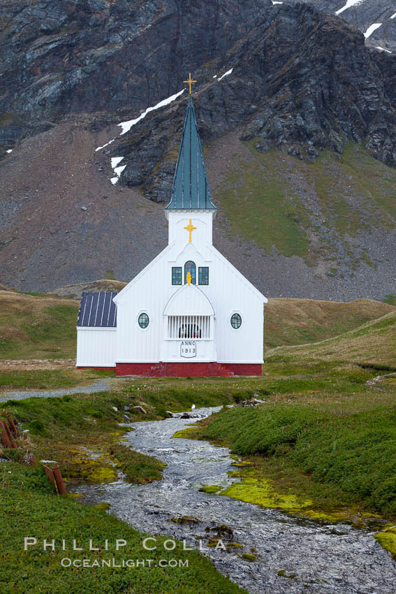 Grytviken Chapel, at the old whaling station of Grytviken, South Georgia Island., natural history stock photograph, photo id 24415