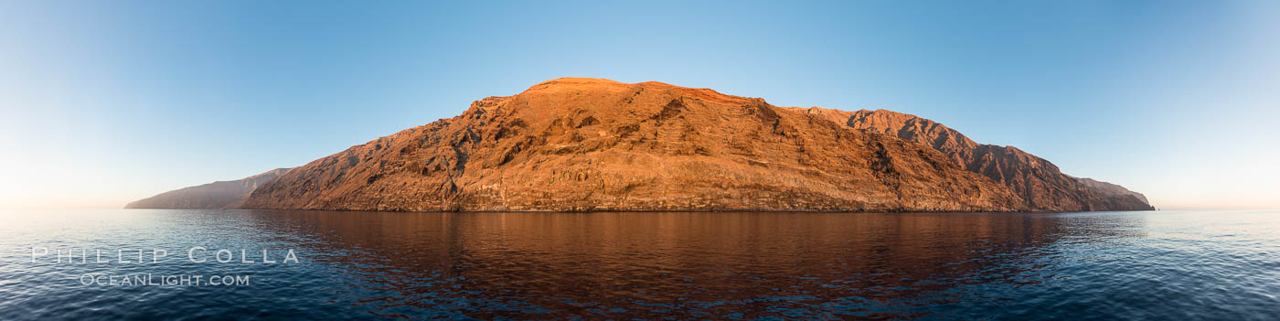 Guadalupe Island at sunrise, panorama. Volcanic coastline south of Pilot Rock and Spanish Cove, near El Faro lighthouse. Guadalupe Island (Isla Guadalupe), Baja California, Mexico, natural history stock photograph, photo id 28757