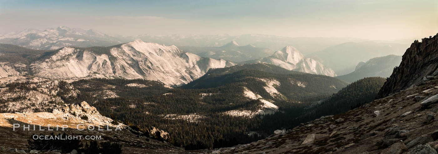 Half Dome and Cloud's Rest from Summit of Mount Hoffmann, sunset, panorama. Yosemite National Park, California, USA, natural history stock photograph, photo id 31195