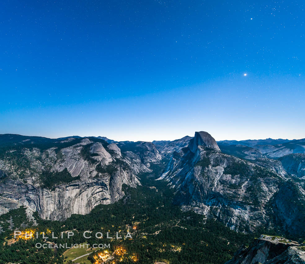 Half Dome and nighttime stars, viewed from Glacier Point. Yosemite National Park, California, USA, natural history stock photograph, photo id 27952