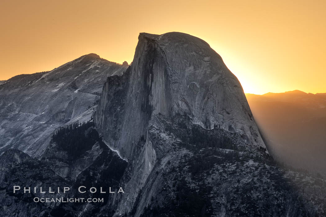 Half Dome at sunrise, viewed from Glacier Point. Yosemite National Park, California, USA, natural history stock photograph, photo id 27738