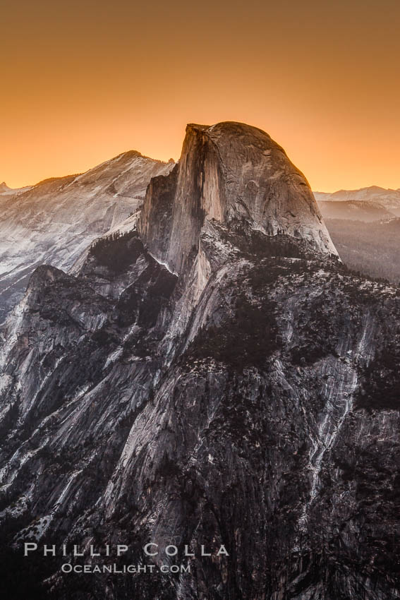 Half Dome and pre-dawn light, sunrise, viewed from Glacier Point. Yosemite National Park, California, USA, natural history stock photograph, photo id 27739