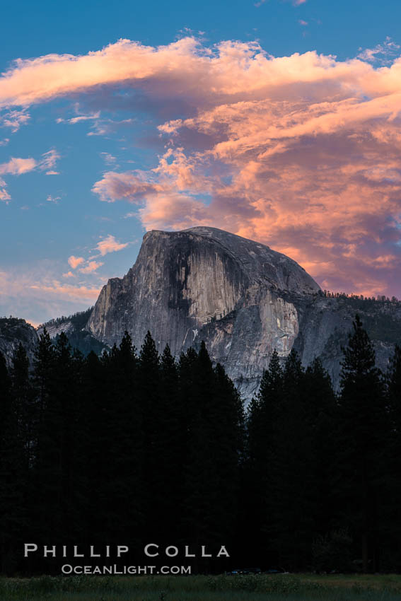 Half Dome and sunset clouds, evening. Yosemite National Park, California, USA, natural history stock photograph, photo id 28693