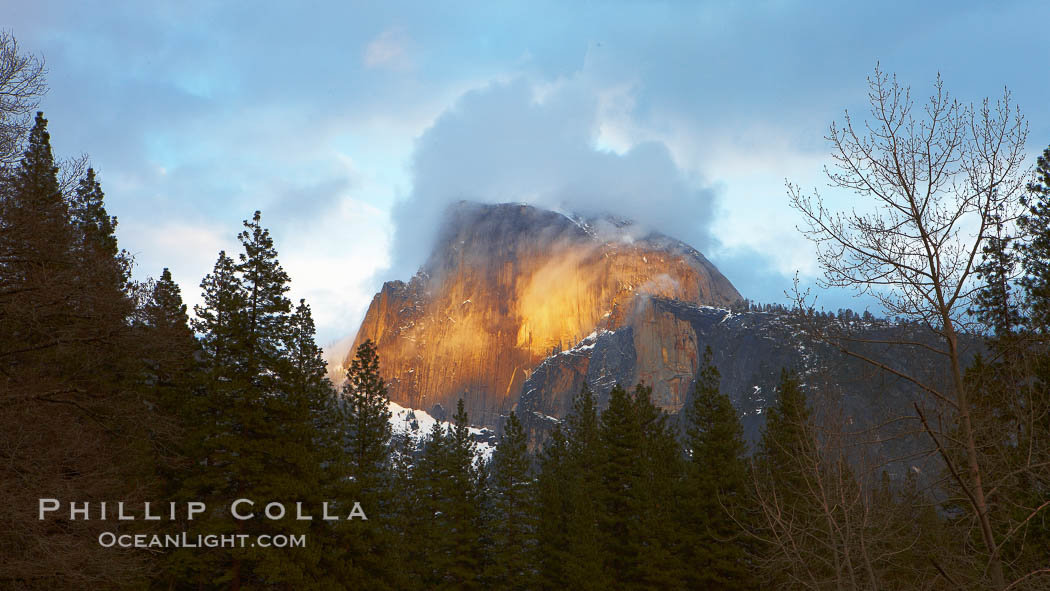 Image 22759, Half Dome and storm clouds at sunset, viewed from Sentinel Bridge. Half Dome, Yosemite National Park, California, USA