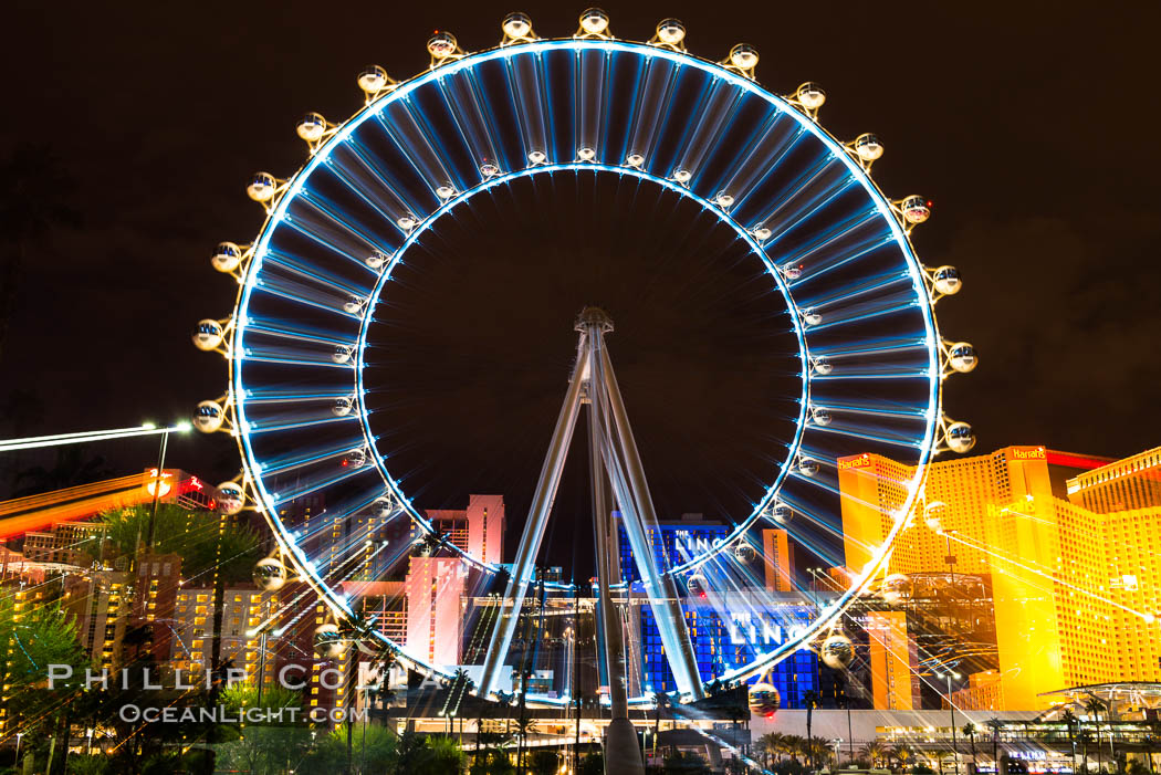 High Roller Ferris Wheel at Night, Las Vegas, Nevada. Las Vegas, Nevada, USA, natural history stock photograph, photo id 32655