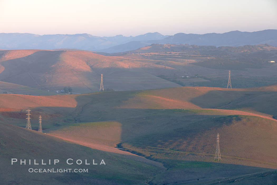 Hills between Morro Bay and Atascadero, early morning light, power transmission lines and signal attenae. California, USA, natural history stock photograph, photo id 22217