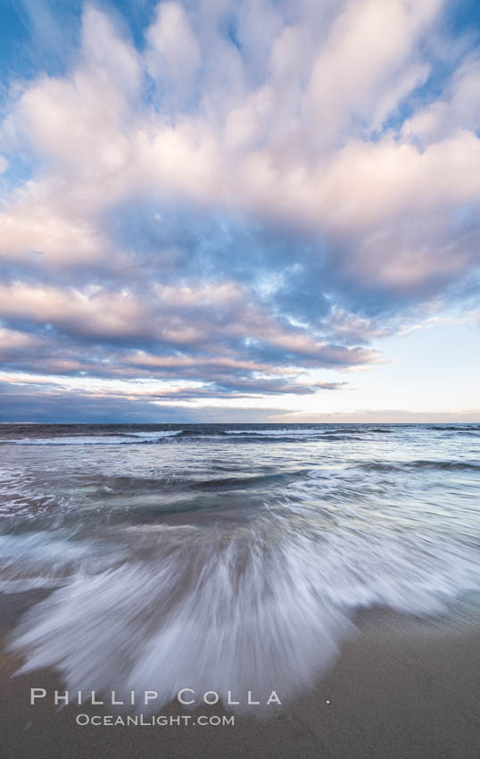 Hospital Point, La Jolla, dawn, sunrise light and approaching storm clouds. California, USA, natural history stock photograph, photo id 28851