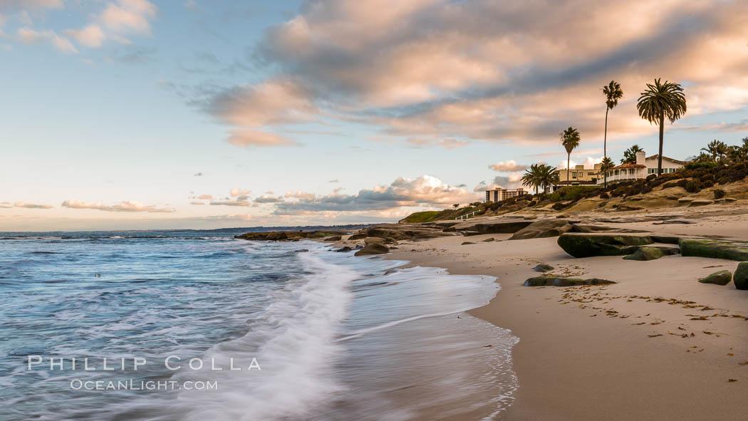 Hospital Point, La Jolla, dawn, sunrise light and approaching storm clouds. La Jolla, California, USA, natural history stock photograph, photo id 28857
