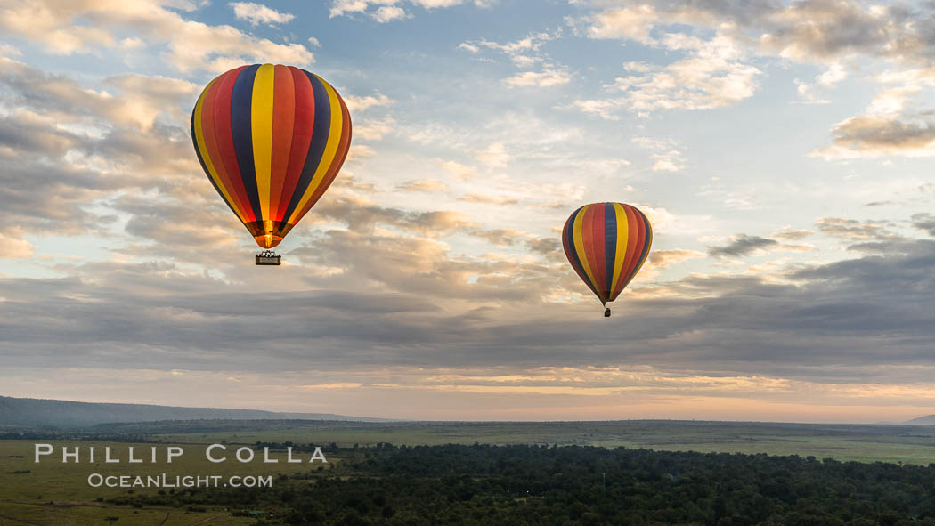 Hot Air Ballooning over Maasai Mara plains, Kenya. Maasai Mara National Reserve, Kenya, natural history stock photograph, photo id 29805