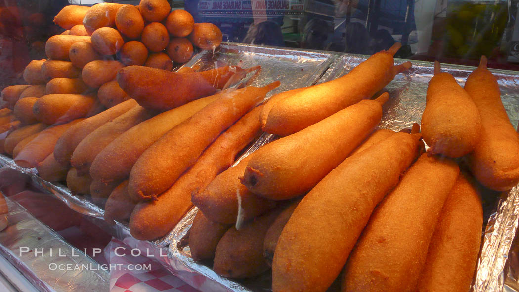 Hot Dog on a Stick, corn dog, greasy fried fatty food. Del Mar Fair, Del Mar, California, USA, natural history stock photograph, photo id 20860