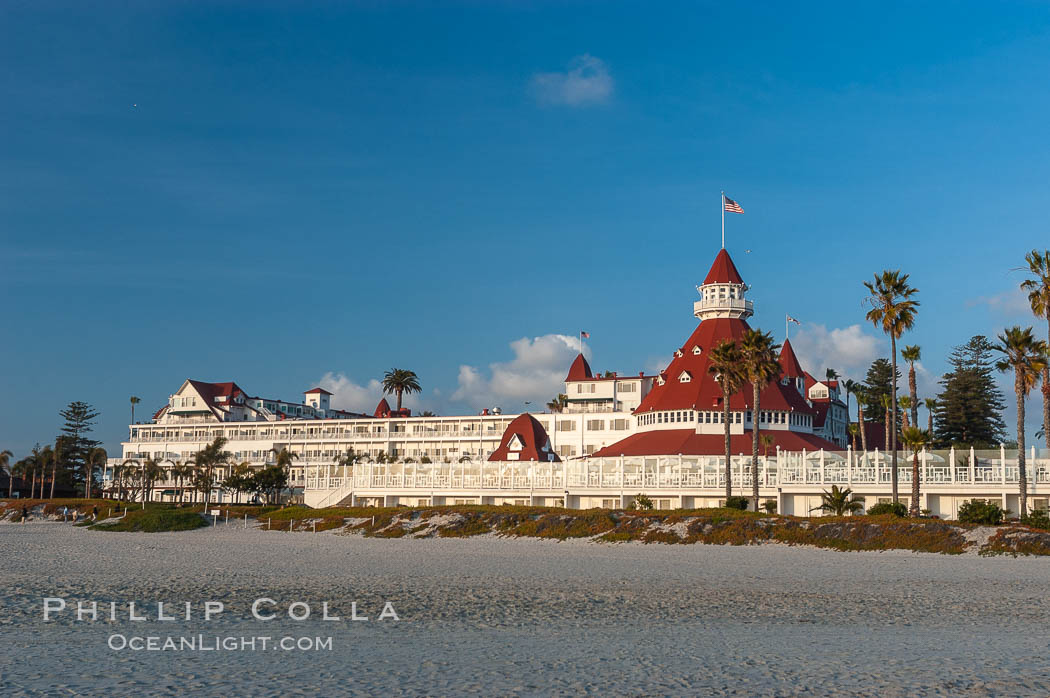 The Hotel del Coronado sits on the beach on the western edge of Coronado Island in San Diego.  It is widely considered to be one of Americas most beautiful and classic hotels.  Built in 1888, it was designated a National Historic Landmark in 1977. Coronado, California, USA, natural history stock photograph, photo id 07945