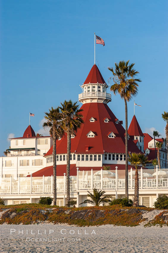 The Hotel del Coronado sits on the beach on the western edge of Coronado Island in San Diego.  It is widely considered to be one of Americas most beautiful and classic hotels.  Built in 1888, it was designated a National Historic Landmark in 1977. Coronado, California, USA, natural history stock photograph, photo id 07949