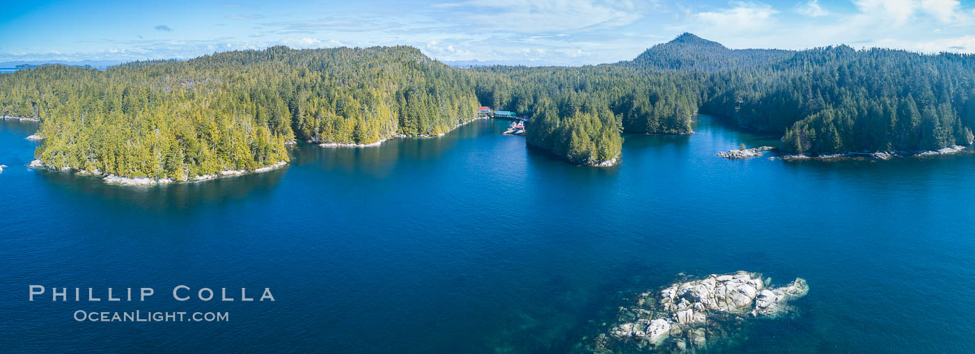 Hurst Island and Gods Pocket Provincial Park, aerial photo. Gods Pocket Provincial Park, Vancouver Island, British Columbia, Canada, natural history stock photograph, photo id 34486