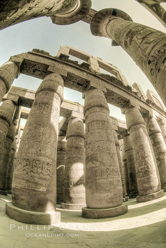 Hypostyle hall, Karnak Temple, Luxor, Eqypt. Egypt, natural history stock photograph, photo id 02584