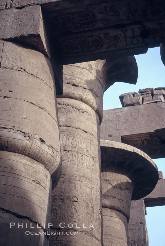 Hypostyle hall, Karnak Temple. Luxor, Egypt, natural history stock photograph, photo id 02593
