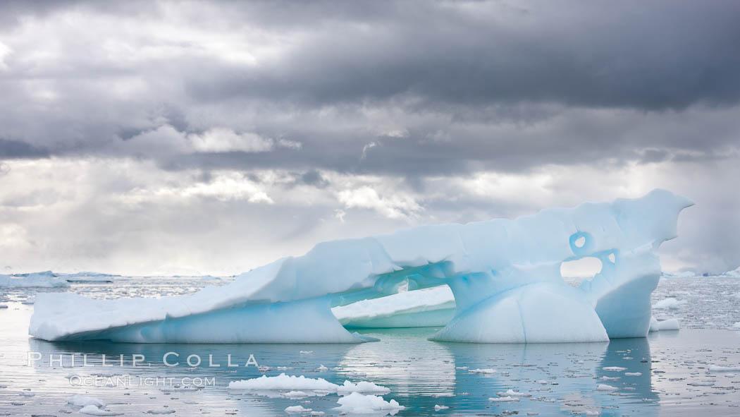 Iceberg, clouds and water, Neko Harbor, Antarctica. Neko Harbor, Antarctic Peninsula, Antarctica, natural history stock photograph, photo id 25662