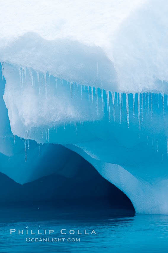 Icicles and melting ice, hanging from the edge of an blue iceberg.  Is this the result of climate change and global warming?. Brown Bluff, Antarctic Peninsula, Antarctica, natural history stock photograph, photo id 24863