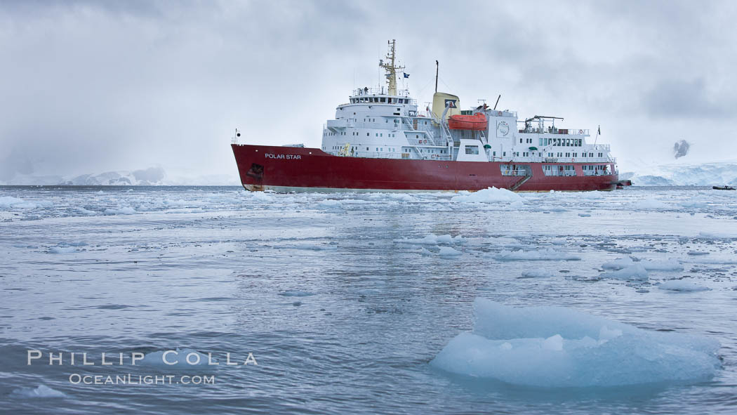 Icebreaker M/V Polar Star, anchored amid pack ice in Cierva Cove. Antarctic Peninsula, Antarctica, natural history stock photograph, photo id 25598