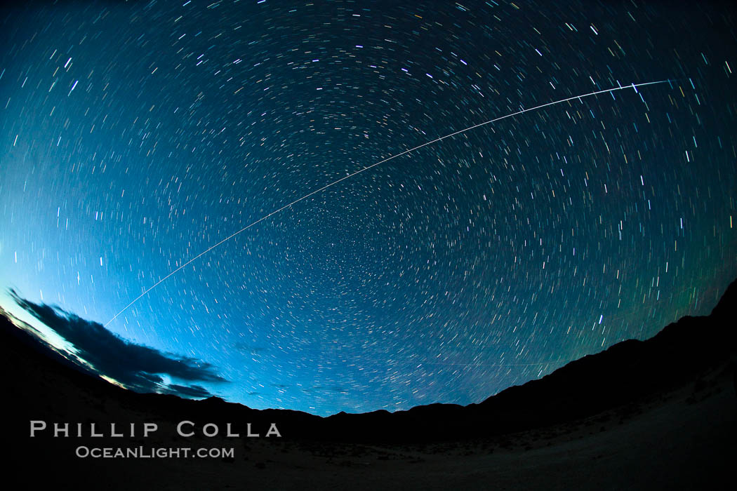 International Space Station flys over Death Valley shortly after sunset. Earth Orbit, Solar System, Milky Way Galaxy, The Universe, natural history stock photograph, photo id 25247