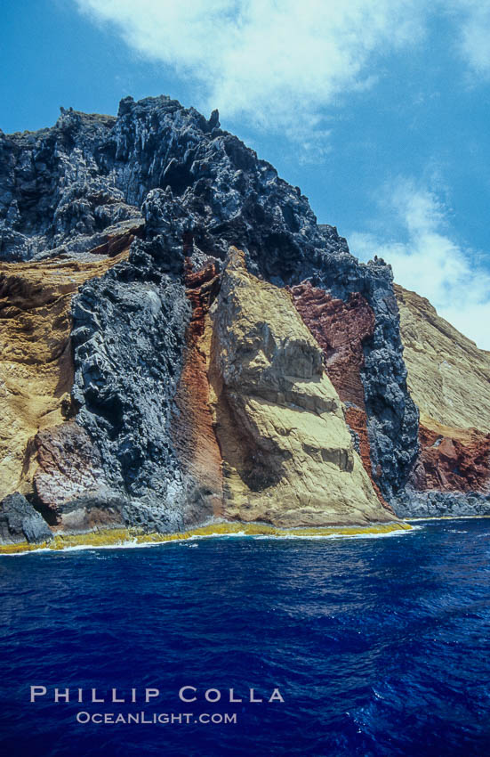 Volcanic tube, west face of Isla Adentro. Guadalupe Island (Isla Guadalupe), Baja California, Mexico, natural history stock photograph, photo id 06153