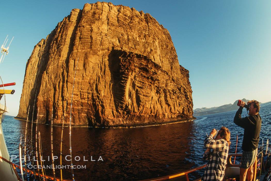 Dawn at Isla Afuera from Boat Horizon. Guadalupe Island (Isla Guadalupe), Baja California, Mexico, natural history stock photograph, photo id 02048